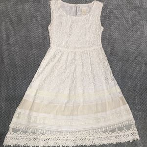 MM Couture White Lace Knit Dress